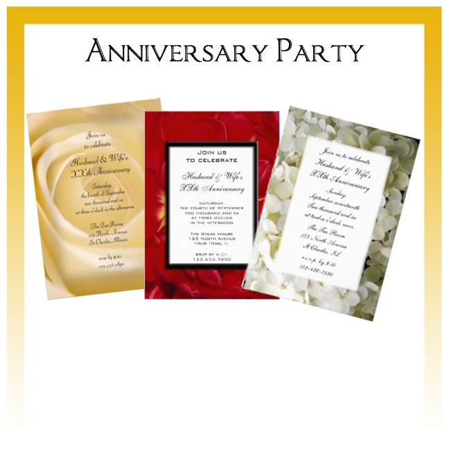 Custom Floral, Nature and Rustic Barn Anniversary Party Invitations