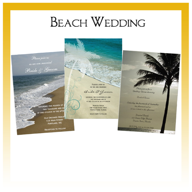 Beach Wedding Invitations, Save the Date Announcements, Greeting Cards and Keepsake Gifts