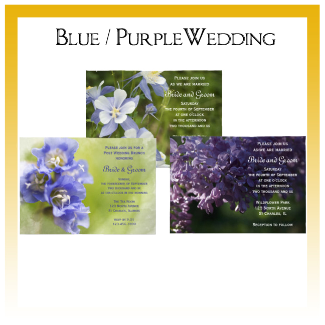 Blue and Purple Floral Wedding Invitations, Save the Date Announcements, Greeting Cards and Keepsake Gifts