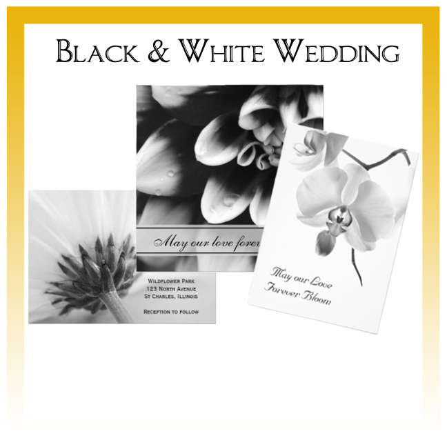 Black and White Floral Wedding Invitations, Save the Date Announcements, Greeting Cards and Keepsake Gifts