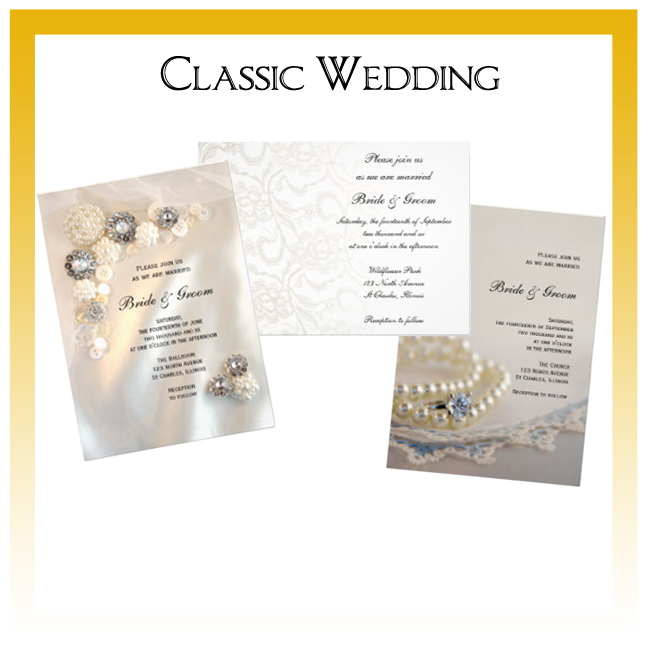 Classic Wedding Invitations, Save the Date Announcements, Greeting Cards and Keepsake Gifts