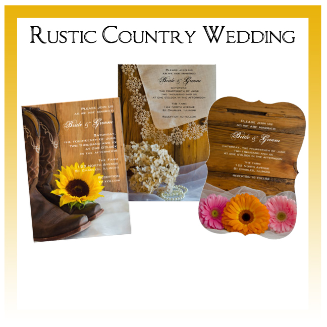 Country Wedding Invitations, Save the Date Announcements, Greeting Cards and Keepsake Gifts