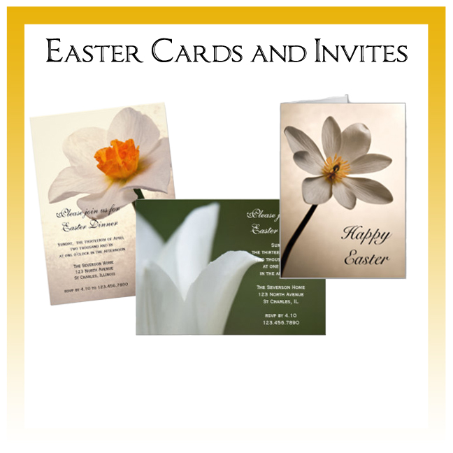 Custom Floral, Nature and Rustic Barn Easter Cards and Invitations