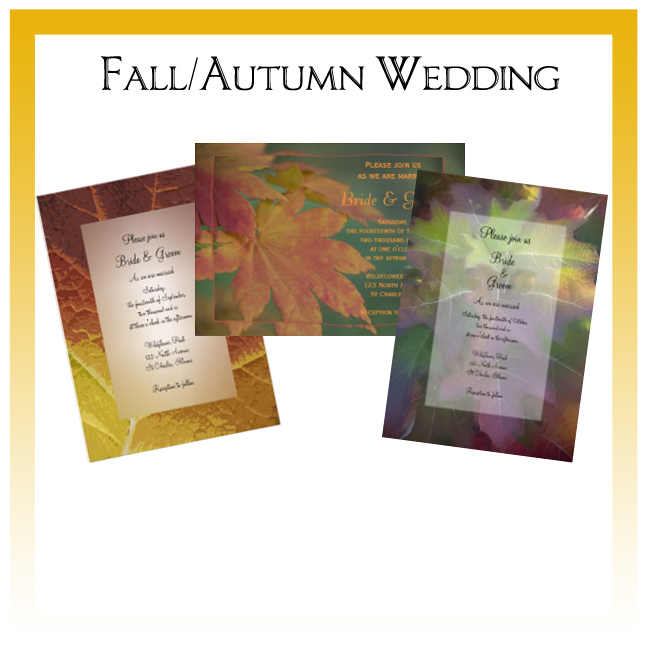 Fall and Autumn Wedding Invitations, Save the Date Announcements, Greeting Cards and Keepsake Gifts