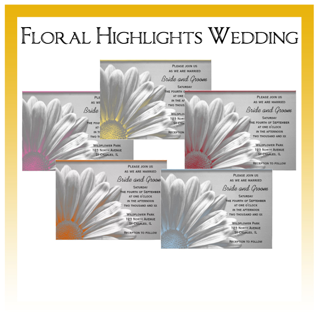 Floral Highlights Wedding Invitations, Save the Date Announcements, Greeting Cards and Keepsake Gifts