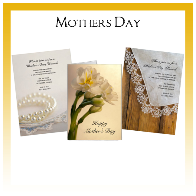 Custom Floral, Nature and Rustic Barn Mothers Day Cards and Invitations