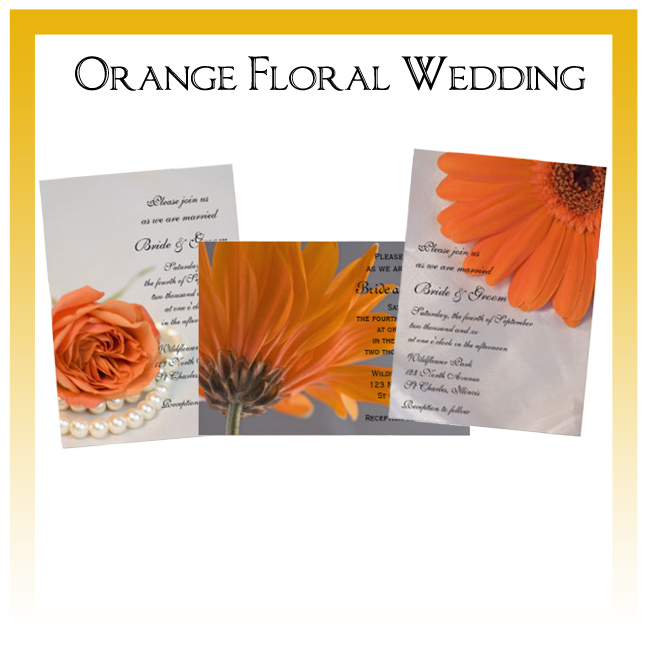 Orange Floral Wedding Invitations, Save the Date Announcements, Greeting Cards and Keepsake Gifts