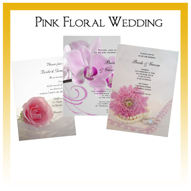 Pink Floral Wedding Invitations, Save the Date Announcements, Greeting Cards and Keepsake Gifts