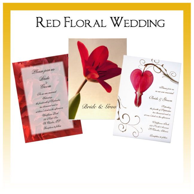 Red Floral Wedding Invitations, Announcements and Cards