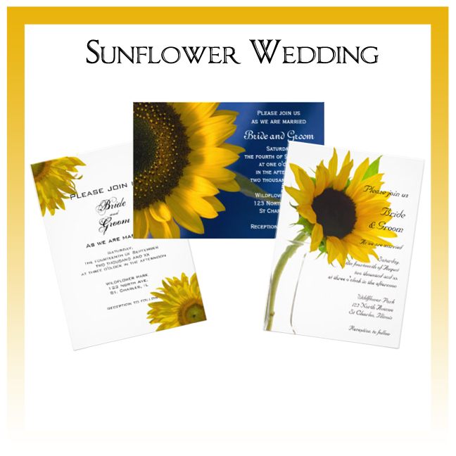 Sunflower Wedding Invitations, Save the Date Announcements, Greeting Cards and Keepsake Gifts