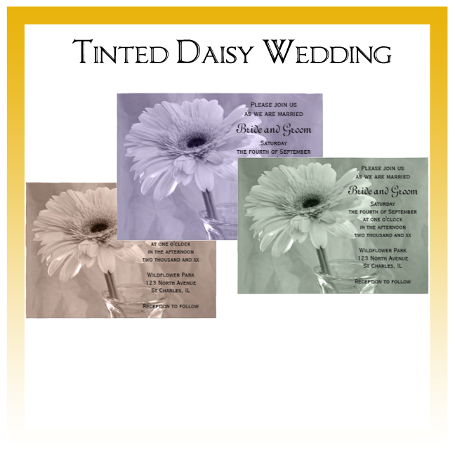 Tinted Daisies Wedding Invitations, Save the Date Announcements, Greeting Cards and Keepsake Gifts
