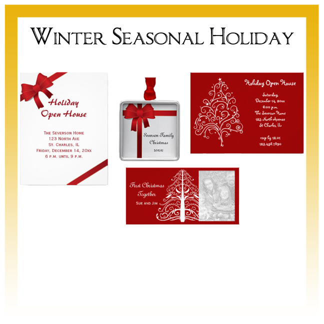 Winter and Christmas Cards and Party Invitations