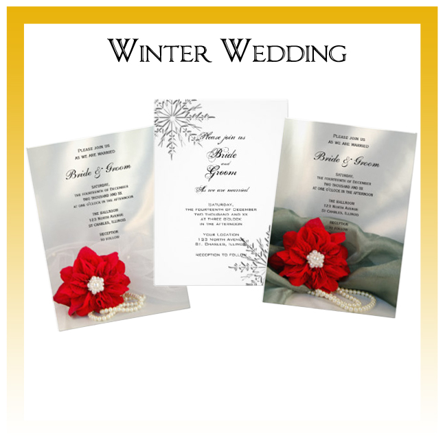 Winter Wedding Invitations, Save the Date Announcements, Greeting Cards and Keepsake Gifts