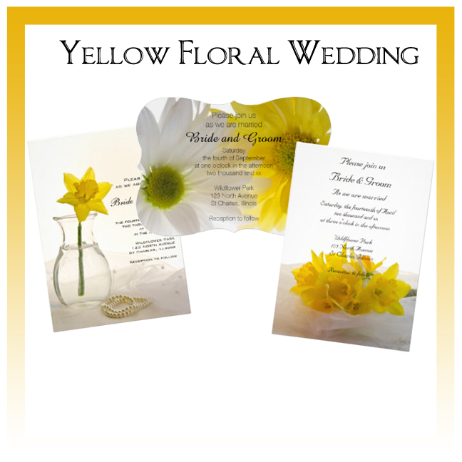 Yellow Floral Wedding Invitations, Save the Date Announcements, Greeting Cards and Keepsake Gifts