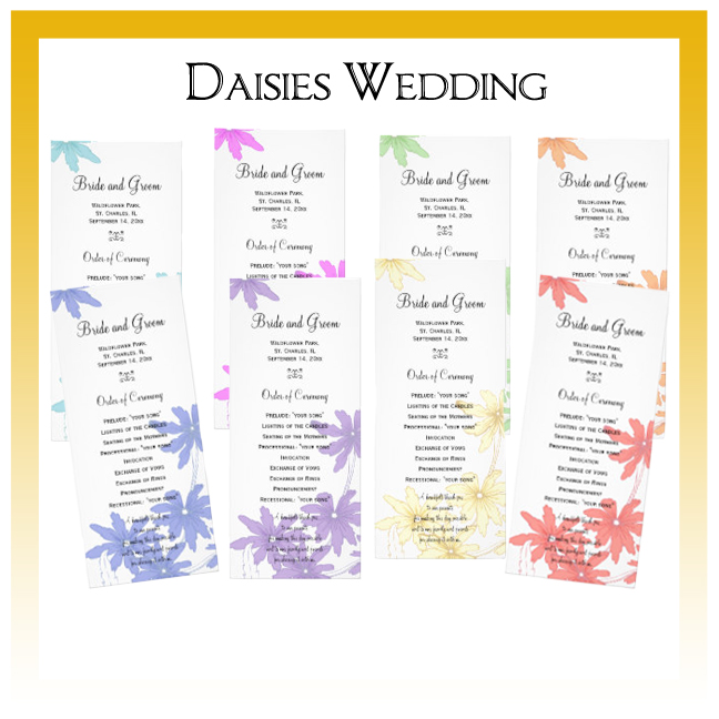 Daisies in Assorted Colors Wedding Invitations, Save the Date Announcements, Greeting Cards and Keepsake Gifts