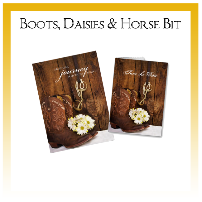 Boots, Daisies and Horse Bit Country Wedding Invitations, Save the Date Announcements, Greeting Cards and Keepsake Gifts