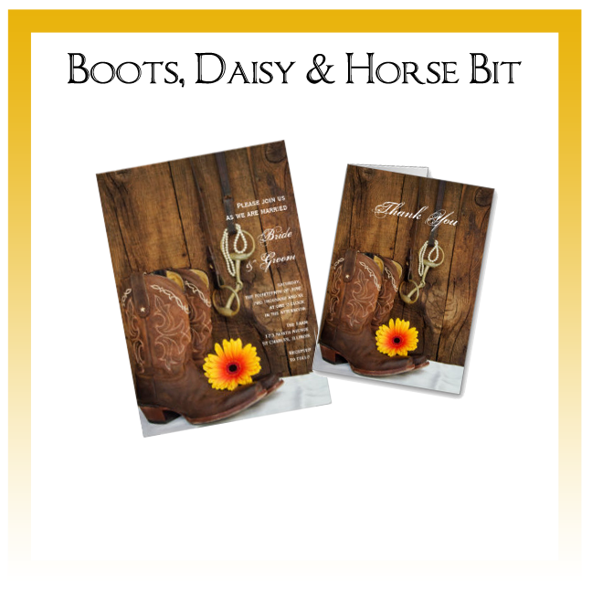 Boots, Daisy and Horse Bit Country Wedding Invitations, Save the Date Announcements, Greeting Cards and Keepsake Gifts