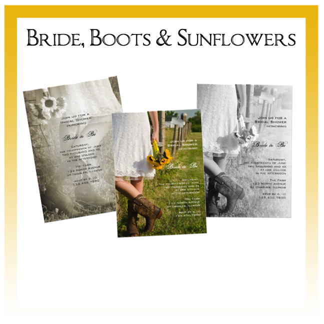 Bride, Boots and Sunflowers Country Wedding Invitations, Save the Date Announcements, Greeting Cards and Keepsake Gifts