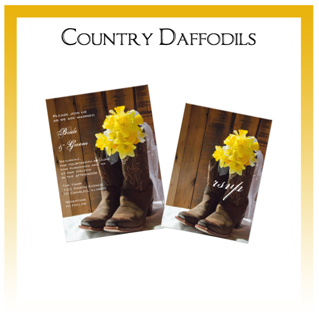 Country Daffodils Wedding Invitations, Save the Date Announcements, Greeting Cards and Keepsake Gifts