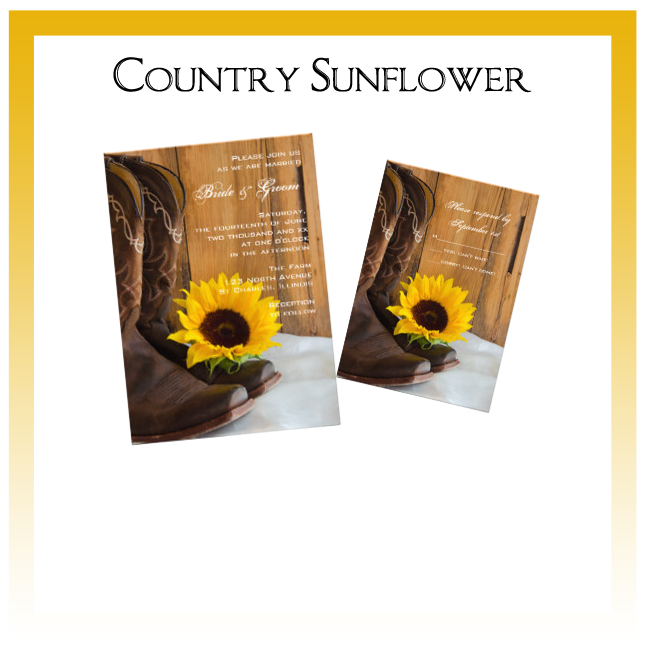 Country Sunflower Wedding Invitations, Save the Date Announcements, Greeting Cards and Keepsake Gifts