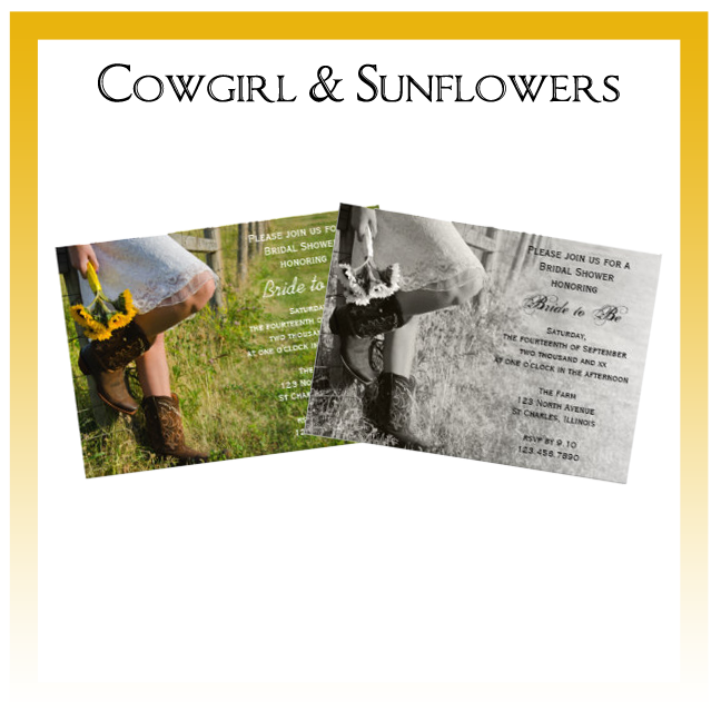 Cowgirl and Sunflowers Country Wedding Invitations, Save the Date Announcements, Greeting Cards and Keepsake Gifts