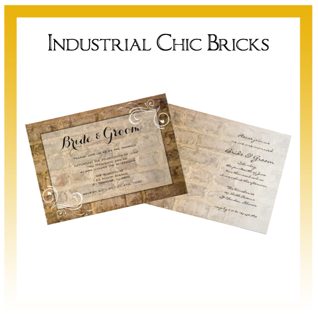 Industrial Chic Bricks Wedding Invitations, Save the Date Announcements, Greeting Cards, Party Favors and Gifts