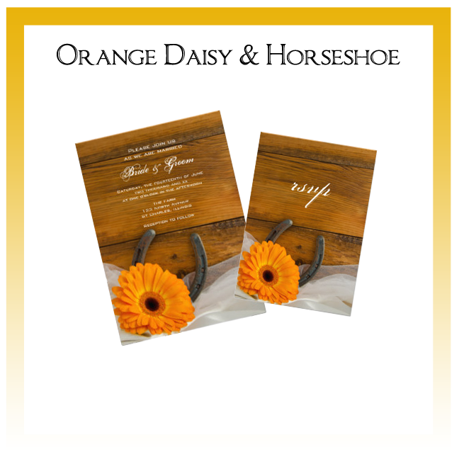 Orange Daisy and Horseshoe Country Wedding Invitations, Save the Date Announcements, Greeting Cards and Keepsake Gifts