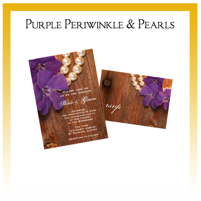 Purple Periwinkle and Pearls Country Wedding Invitations, Save the Date Announcements, Greeting Cards and Keepsake Gifts