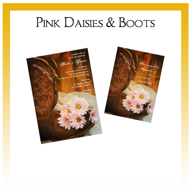 Pink Daisies and Boots Country Wedding Invitations, Save the Date Announcements, Greeting Cards and Keepsake Gifts
