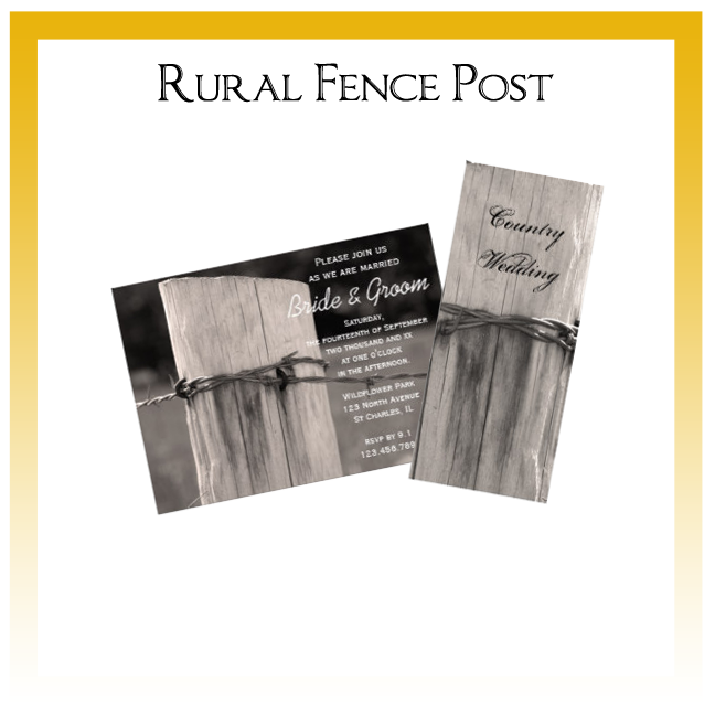 Rural Fence Post Country Wedding Invitations, Save the Date Announcements, Greeting Cards and Keepsake Gifts