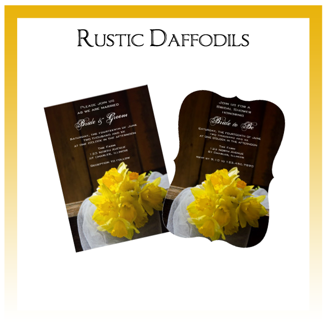 Rustic Daffodils Country Wedding Invitations, Save the Date Announcements, Greeting Cards and Keepsake Gifts
