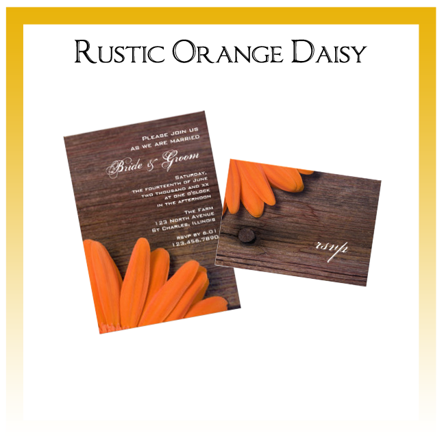 Rustic Orange Daisy Country Wedding Invitations, Save the Date Announcements, Greeting Cards and Keepsake Gifts