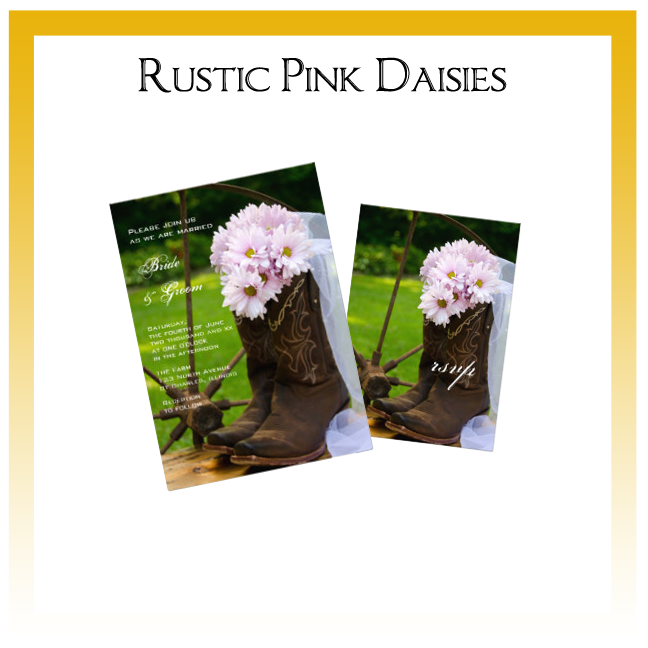 Rustic Pink Daisies Country Wedding Invitations, Save the Date Announcements, Greeting Cards and Keepsake Gifts