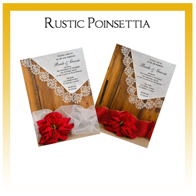 Rustic Poinsettia Country Wedding Invitations, Announcements and Cards