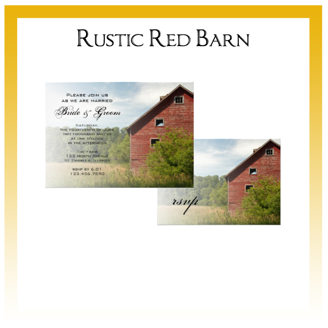 Rustic Red Barn Country Wedding Invitations, Save the Date Announcements, Greeting Cards and Keepsake Gifts