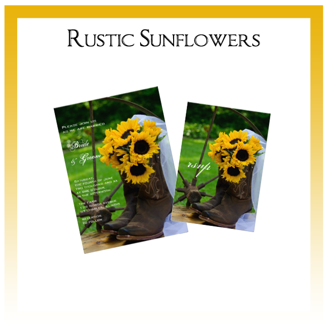 Rustic Sunflowers Country Wedding Invitations, Save the Date Announcements, Greeting Cards and Keepsake Gifts