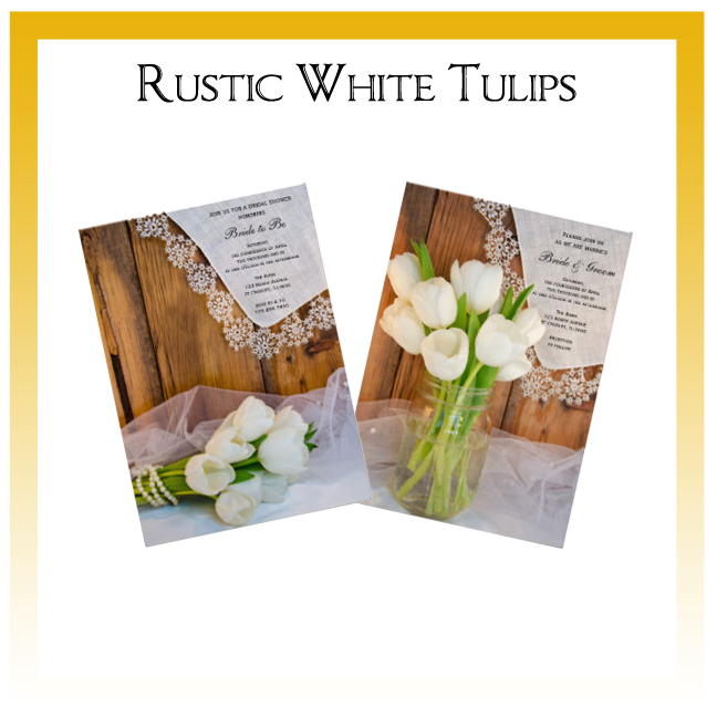 Rustic White Tulips Country Wedding Invitations, Save the Date Announcements, Greeting Cards and Keepsake Gifts