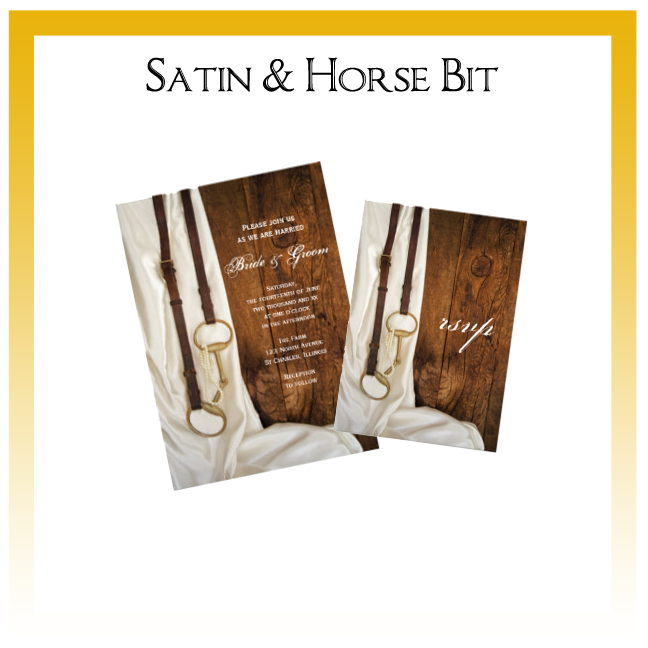 Satin and Horse Bit Country Wedding Invitations, Save the Date Announcements, Greeting Cards and Keepsake Gifts