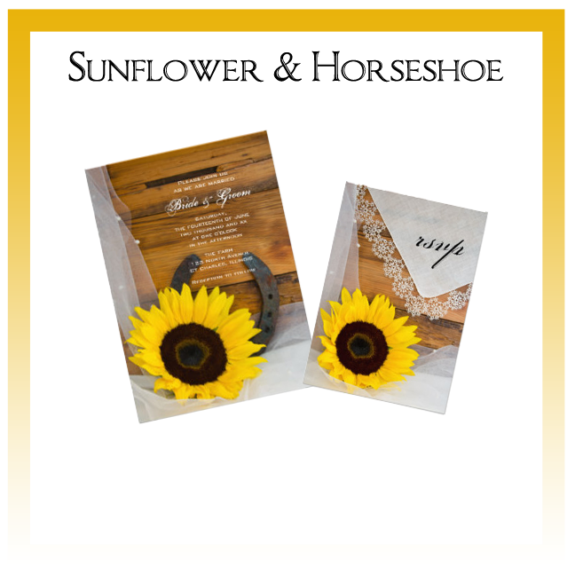 Sunflower and Horseshoe Wedding Invitations, Save the Date Announcements, Greeting Cards and Keepsake Gifts