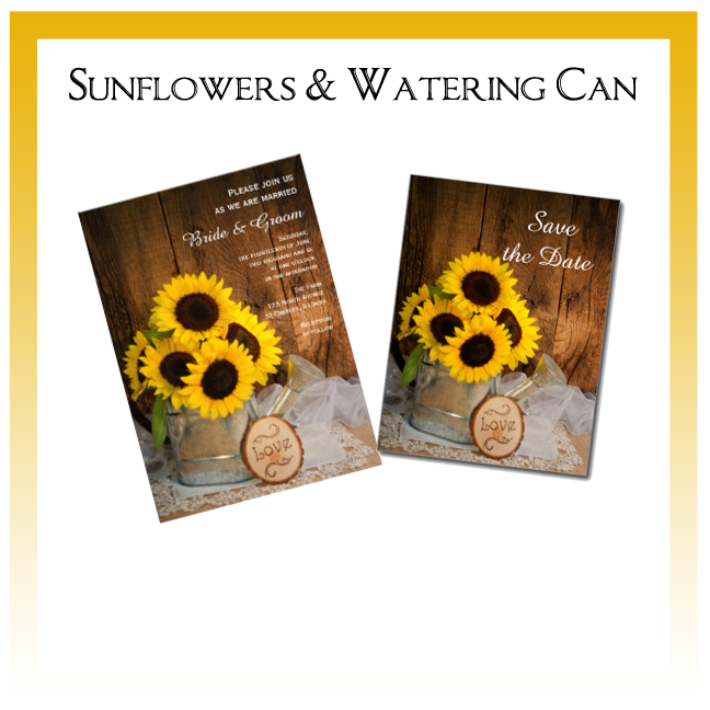 Sunflowers and Watering Can Garden Wedding Invitations, Save the Date Announcements, Greeting Cards and Keepsake Gifts