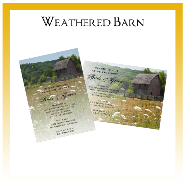 Weathered Wooden Barn Country Wedding Invitations, Save the Date Announcements, Greeting Cards and Keepsake Gifts