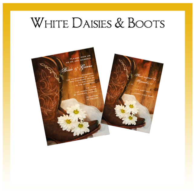 White Daisies and Boots Country Wedding Invitations, Save the Date Announcements, Greeting Cards and Keepsake Gifts