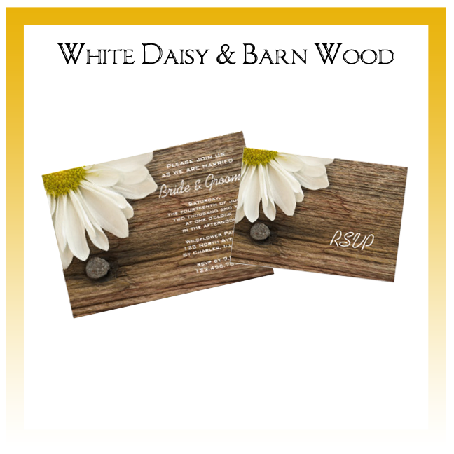 White Daisy and Barn Wood Country Wedding Invitations, Save the Date Announcements, Greeting Cards and Keepsake Gifts
