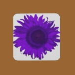 purple pop art flower cork coaster set